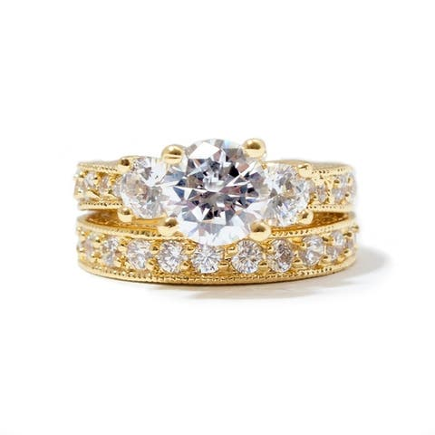 NEXTE Jewelry Gold Overlay Cubic Zirconia Bridal - inspired Ring Set Size - 4