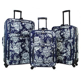 World Traveler Navy White Flowers 3-piece Rolling Expandable Spinner Luggage Set