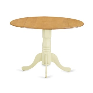 """DLT-OLW-TP Dublin Round Table with two 9"""" Drop Leaves in Oak and Linen White Finish"""