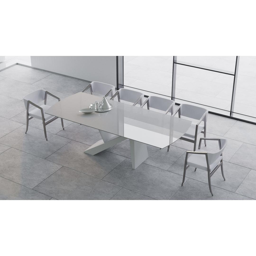 B Modern Virtuoso Extension Dining Table White 79 98 75 W X 41 D X30 25 H