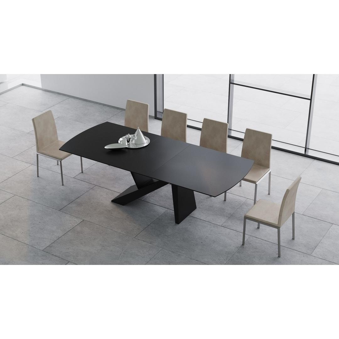 B Modern Virtuoso Extension Dining Table Black 79 98 75 W X 41 D X30 25 H