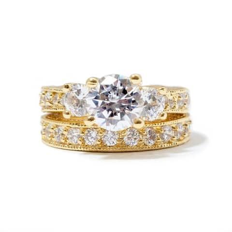 NEXTE Jewelry Gold Overlay Cubic Zirconia Bridal - inspired Ring Set Size - 7