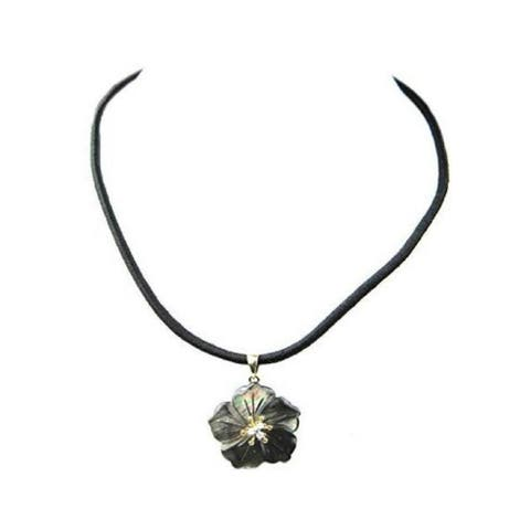 Pearl Lustre 14k Black Tahitian Mother Pearl with Diamonds and Silk Cord Necklace.