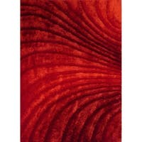 "Red and Black Abstract 8x11 Area Rug - 7'6"" x 10'3"""