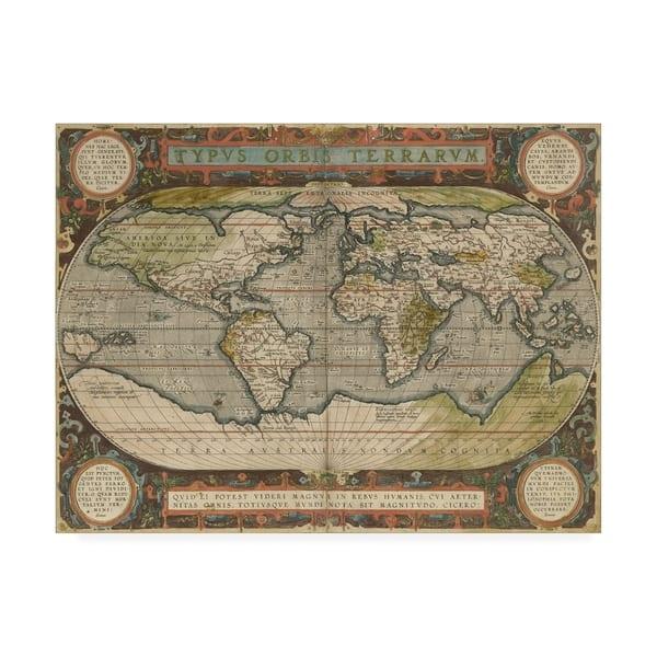 Shop Vision Studio 'Antique World Map 36X48' Canvas Art - On ... on world maps history, world maps religion, old world map sale, world maps france, world maps software, world map globe sale, world maps games, world maps art, world maps furniture, world maps books,