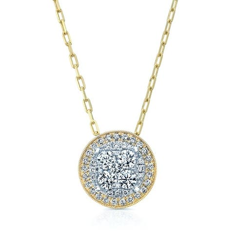 Round Diamond Halo Cluster Pendant Necklace in 14k Two-tone Gold (5/8 ct. t.w.), 18 Inches