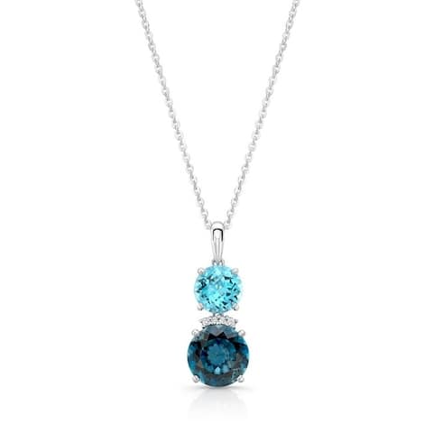 14K White Gold London Blue Topaz and Round Cut Diamond (0.03 ct. t.w) Pendant Necklace