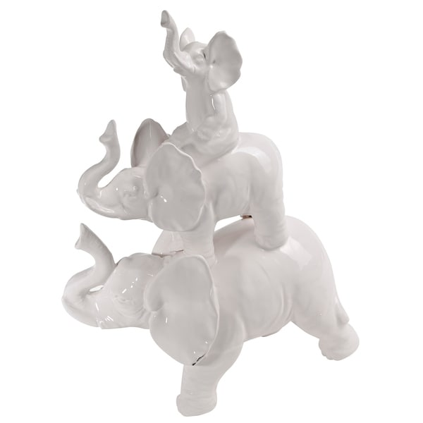 The Curated Nomad White Ceramic Trumpeting Elephants Accent Piece