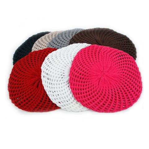Fashion Knitted Beret Open Weave Style 184HB