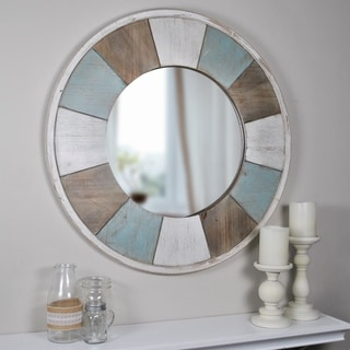 """FirsTime & Co.® Cottage Timbers Mirror - Blue/Antique White - 27"""""""
