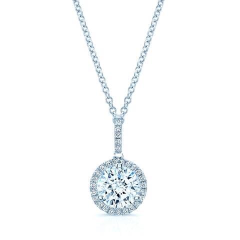 14K White Gold Round Cut Diamond (1.14 ct. t.w) Halo Pendant Necklace