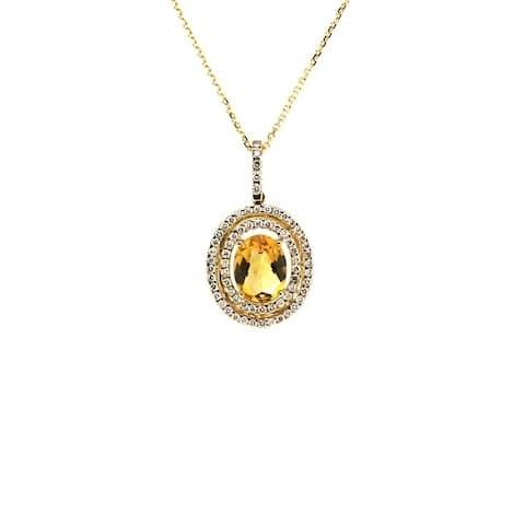 14K White Gold Citrine and Round Cut Diamond (0.42 ct. t.w) Pendant Necklace