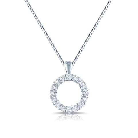 Auriya 3/8cttw Accent Diamond Circle Fashion Necklace Sterling Silver