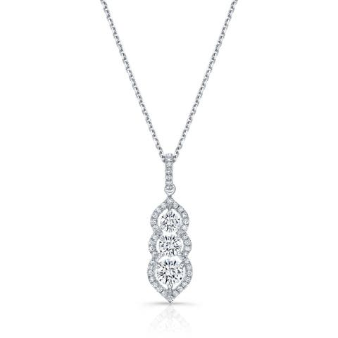 3-Stone Vertical Pendant Necklace with Minaret Tips in 14k White Gold, 17 Inches