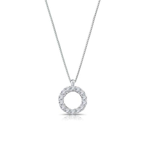 Auriya 1/5cttw Accent Diamond Circle Fashion Necklace Sterling Silver