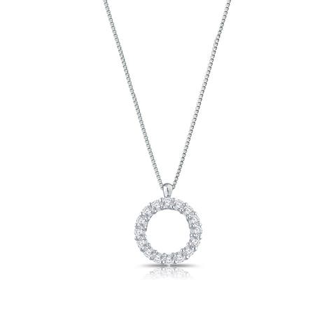 Auriya 1/4cttw Accent Diamond Circle Fashion Necklace Sterling Silver