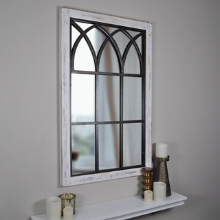 FirsTime & Co. Vista Distressed White Wood Arched Window Mirror