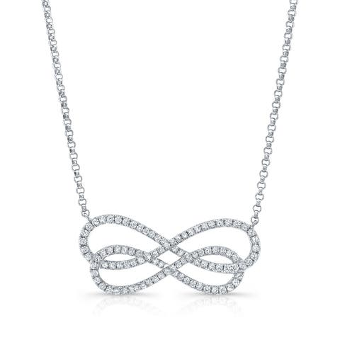 Diamond Double Infinity Necklace In 14k White Gold (2/3 ct. t.w.), 18 Inches