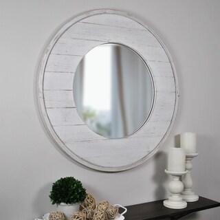 FirsTime & Co. Ellison White Shiplap Round Wall Mirror
