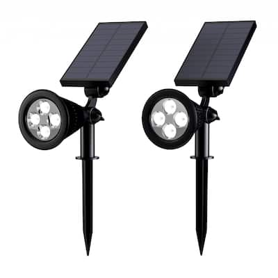 Solar Powered Outdoor Spotlights -Set of 2 Landscape Lights-Ground Stakes or Wall Mountable, 4 LED Bulbs by Pure Garden.