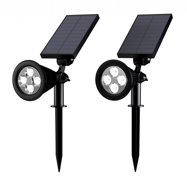 Solar Powered Outdoor Spotlights -Set of 2 Landscape Lights-Ground Stakes or Wall Mountable, 4 LED Bulbs by Pure Garden. - N/A