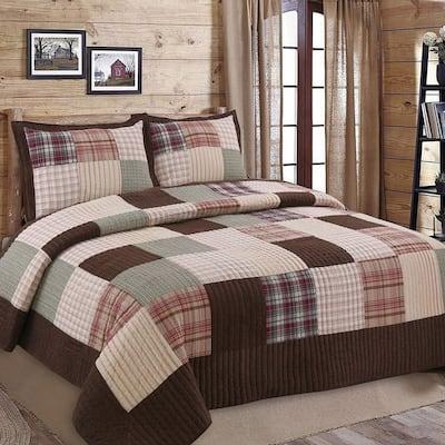 Cozy Line Brody Plaid Patchwork Reversible Quilt Set