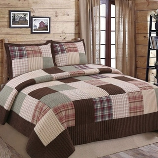 Link to Cozy Line Brody Plaid Patchwork Reversible Quilt Set Similar Items in Quilts & Coverlets