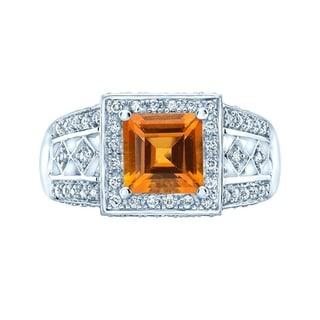 Citrine & Diamond Square Halo Ring In 14k White Gold (0.40 ct. t.w.), Size 7