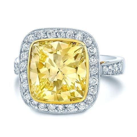 Platinum & 18K Yellow Gold Cushion Cut Fancy Yellow Diamond (5.31 ct. t.w) Engagement Ring, Size 6