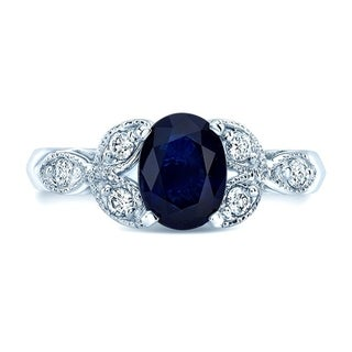 Sapphire & Diamond Leaf Shank Ring In 14k White Gold, Size 7