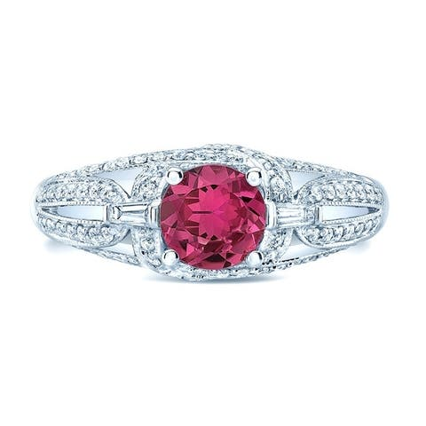 Pink Tourmaline & Diamond Antique Design Ring In 14k White Gold (1/3 ct. t.w.), Size 6.5