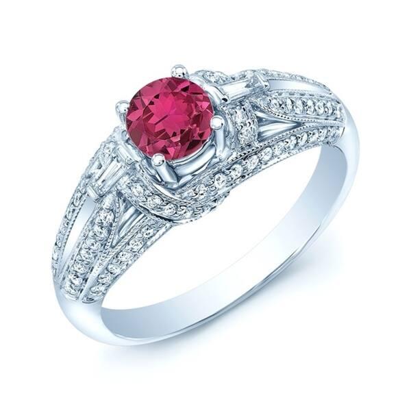 Floral Pink Tourmaline Engagement Ring Set 14k Gold Tourmaline Art Deco Wedding Ring Set Antique Tourmaline Bridal Promise Ring Set for Her