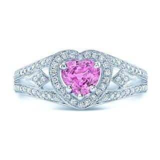 Heart Pink Sapphire & Diamond Split Shank Halo Ring In 14k White Gold, Size 7