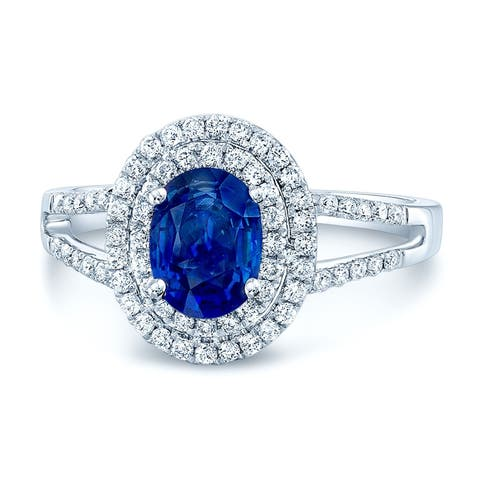 Sapphire & Diamond Oval Double Halo Ring With Split Shank In 14k White Gold, Size 7