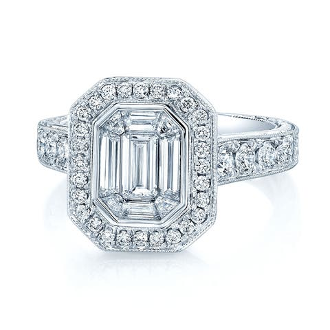 Round & Emerald Cut Diamond Cluster Engagement Ring in 18K White Gold, Size 7