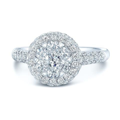 14K White Gold Round Cut Diamond (0.97 ct. t.w) Halo Engagement Ring, Size 7