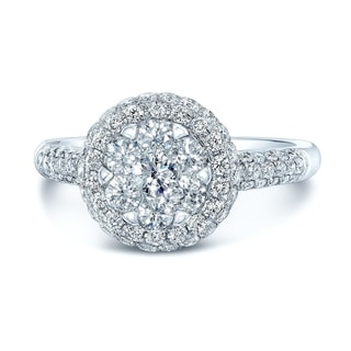 14K White Gold Round Cut Diamond (0.97 ct. t.w) Halo Engagement Ring, Size 7