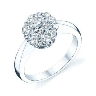 14K White Gold Round Cut Diamond (0.26 ct. t.w) Engagement Ring, Size 7