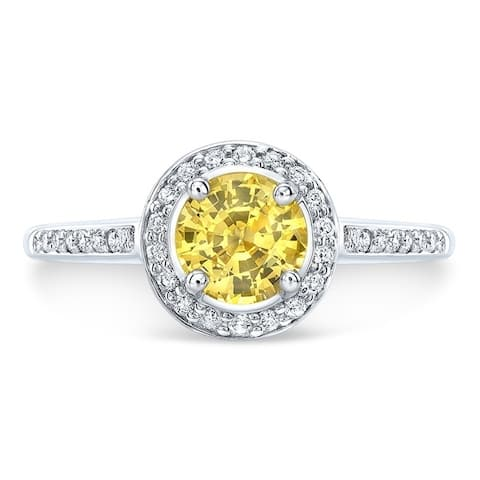 Yellow Sapphire & Diamond Round Halo Ring with Pave Shank in 14k White Gold, Size 7