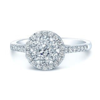Diamond Halo Engagement Ring In 14k White Gold, Size 7