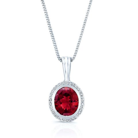 Pink Tourmaline & Diamond Oval Bezel-Set Pendant Necklace In 14k White Gold (14x12mm Pendant), 16 Inches