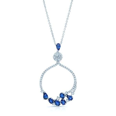 14K White Gold Round Cut Diamond (0.57 ct. t.w) Pendant Necklace