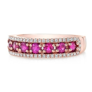 Ruby Diamond Pave 3 Row Ring In 14k Rose Gold Size 7