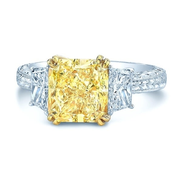 Platinum & 18K Yellow Gold Radiant Cut Fancy Yellow Diamond (4.48 ct. t.w) Engagement Ring, Size 7