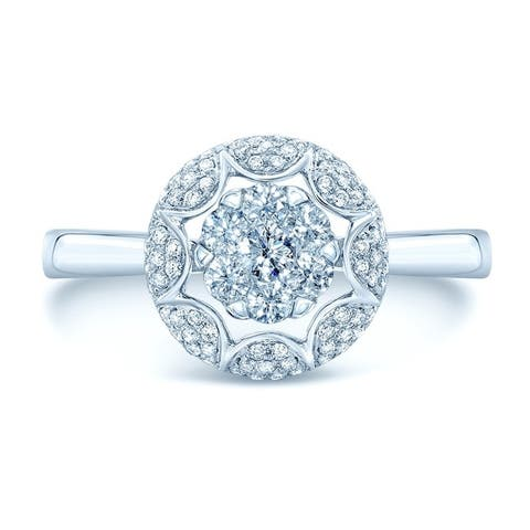 14K White Gold Round Cut Diamond (0.39 ct. t.w) Engagement Ring, Size 7