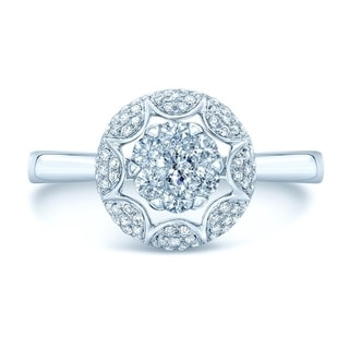 14K White Gold Round Cut Diamond (0.39 ct. t.w) Engagement Ring, Size 7