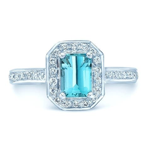 14K White Gold Blue Topaz and Round Cut Diamond (0.32 ct. t.w) Statement Ring, Size 7