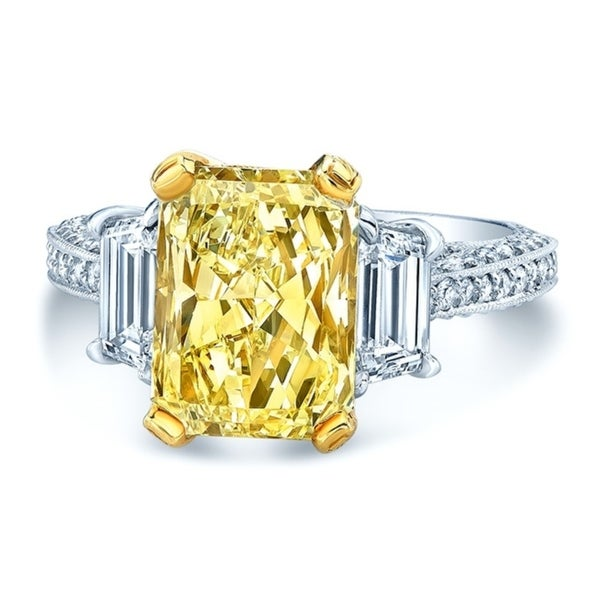Platinum & 18K Yellow Gold Radiant Cut Fancy Yellow Diamond (5 ct. t.w) Engagement Ring, Size 6. Opens flyout.