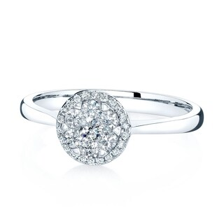 14K White Gold Round Cut Diamond (0.32 ct. t.w) Halo Engagement Ring, Size 7