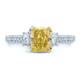 Platinum & 18K Yellow Gold Radiant Cut Fancy Yellow Diamond (2.18 ct. t.w) Engagement Ring, Size 6.5